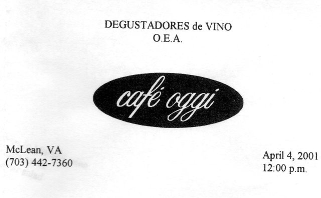 Cover of the menu of the first 'degustación' of the Club del Vino