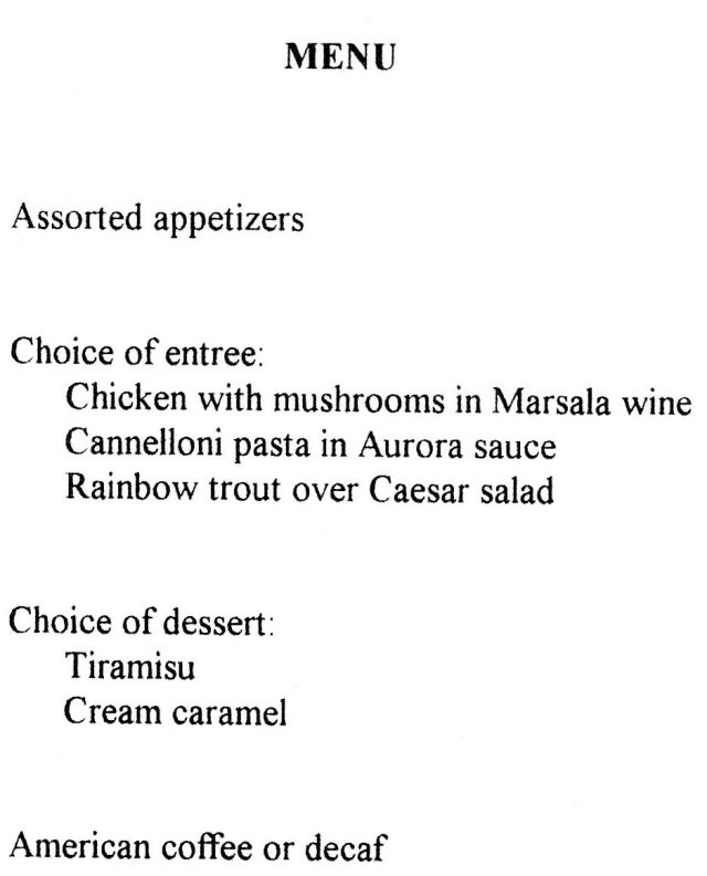 The actual menu of the fisrt lunch of the  Club del Vino